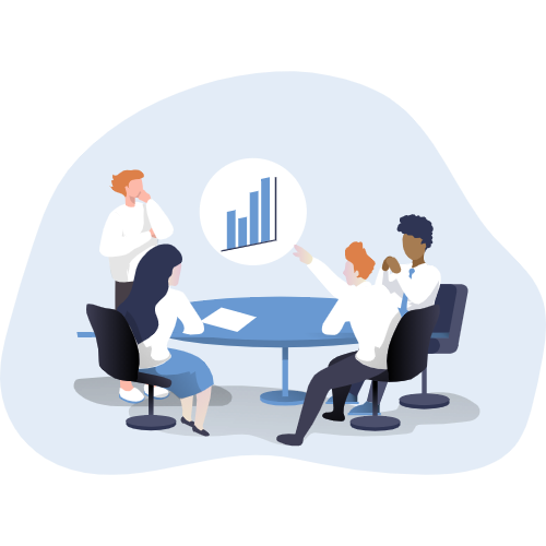 Cartoon of a professional team sitting around a table working on a Salesforce chart