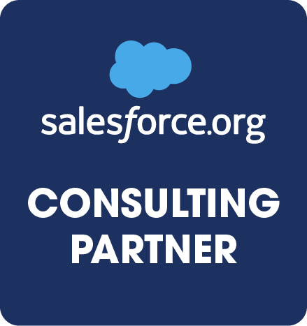 Salesforce consulting partner Badge, Salesforce symbol plus white writing of salesforce.org and consulting partner