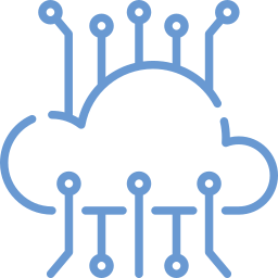 Cartoon symbol of a cloud with data coming in and out of it to symbolize a data migration