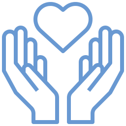Cartoon symbol of two hands with a heart in the middle to symbolize nonprofit fundraising