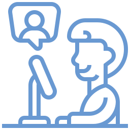 cartoon of a person sitting along at their computer but a little bubble person above to symbolize remote discussions and our virtual administrator program