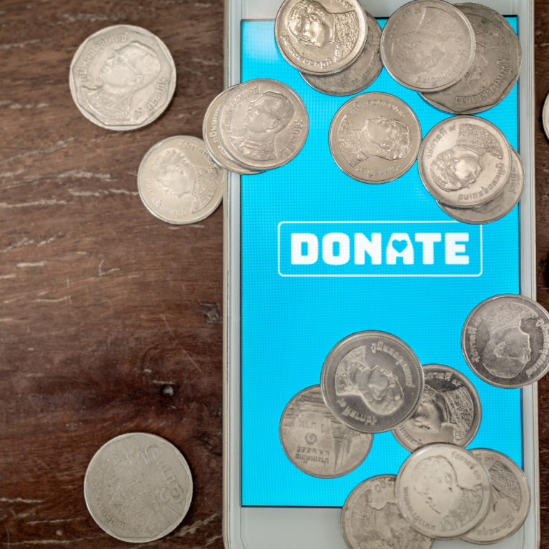 Cellphone with blue backdrop on the screen and the words DONATE. American coins sit on top of the phone
