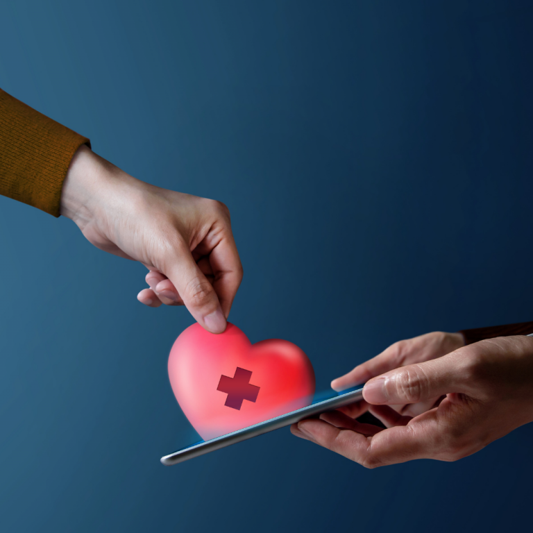 Individual holding a phone with cartoon heart being pulled from the screen by a second hand
