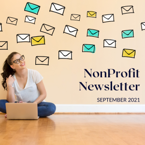 Nonprofit Newsletter for September 2021, young woman with laptop watching cartoon letters fly above her